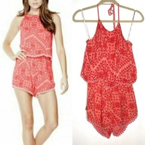 G by Guess Evanee Crochet Romper Coral size S